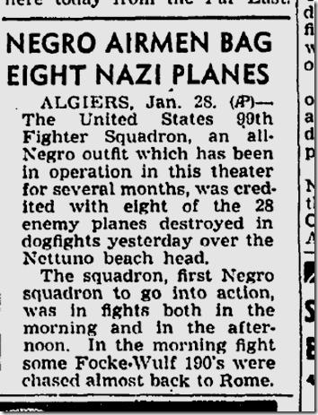Jan. 29, 1944, Negro Airmen