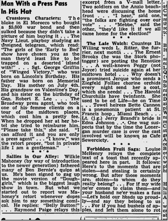 Feb. 28, 1944, Walter Winchell