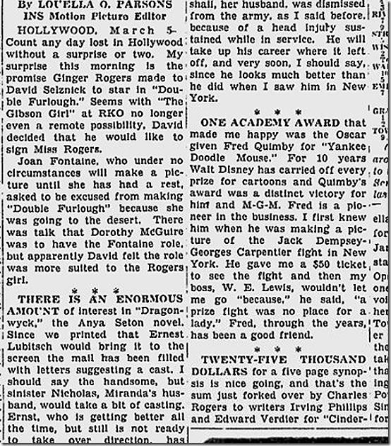 March 6, 1944, Louella Parsons