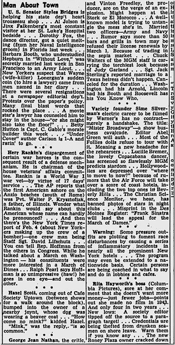 Feb. 9, 1944, Walter Winchell