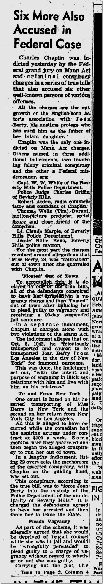 Feb. 11, 1944, Chaplin Indicted