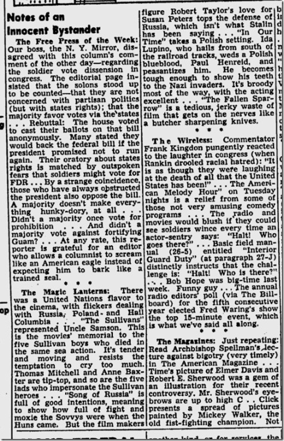 Feb. 15, 1944, Walter Winchell