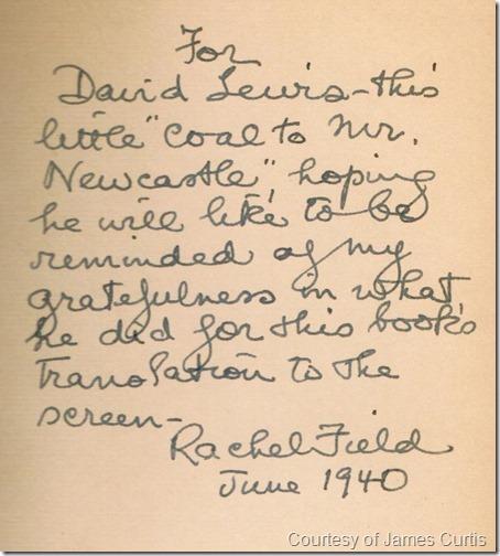 Inscription from Rachel Field