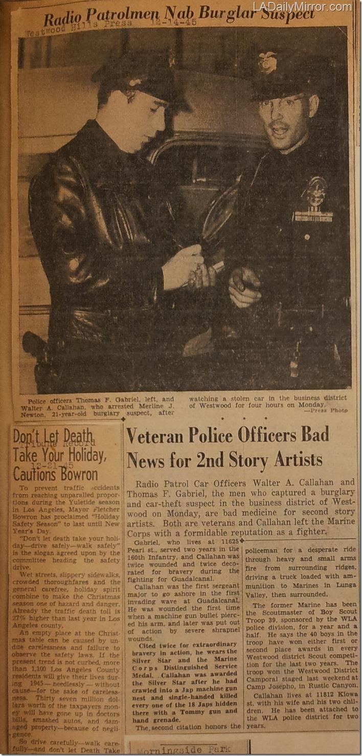 Dec. 14, 1945, Burglar Arrested