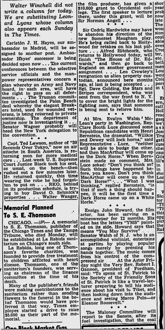 March 23, 1944, Leonard Lyons