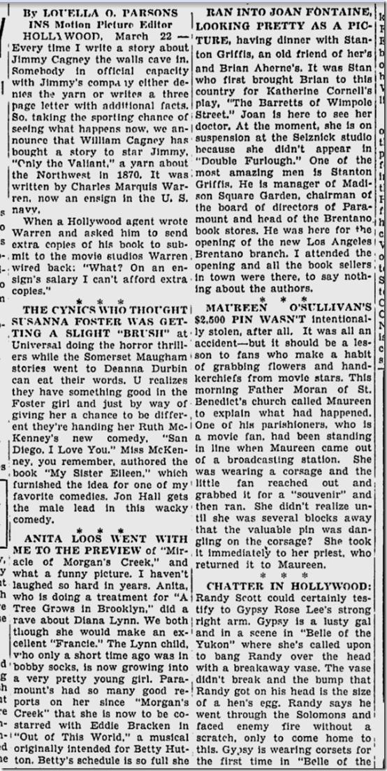 March 23, 1944, Louella Parsons