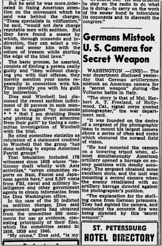 March 26, 1944, Walter Winchell