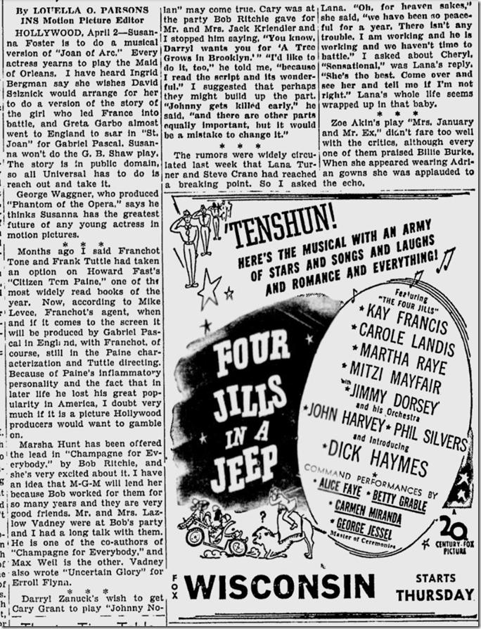 April 3, 1944, Louella Parsons