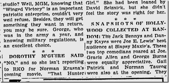 March 17, 1944, Louella Parsons