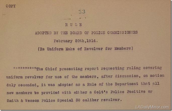 LAPD Pistols, 1914