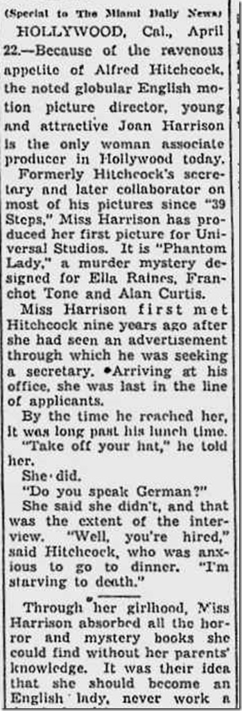 April 23, 1944, Joan Harrison