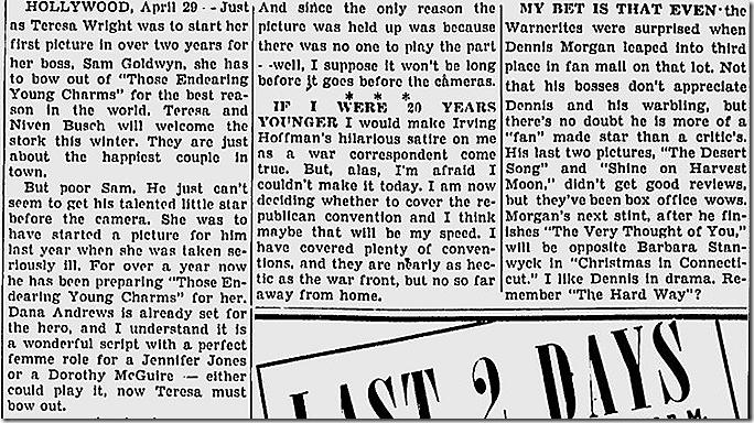April 29, 1944, Louella Parsons