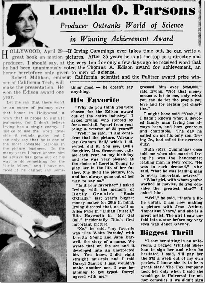 April 30, 1944, Louella Parsons