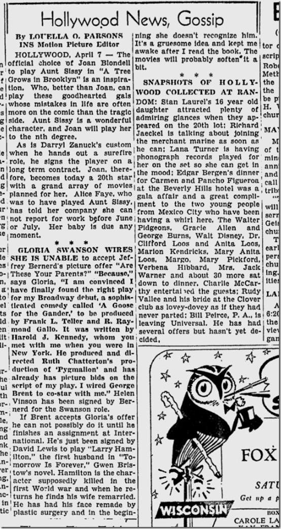 April 8, 1944, Louella Parsons