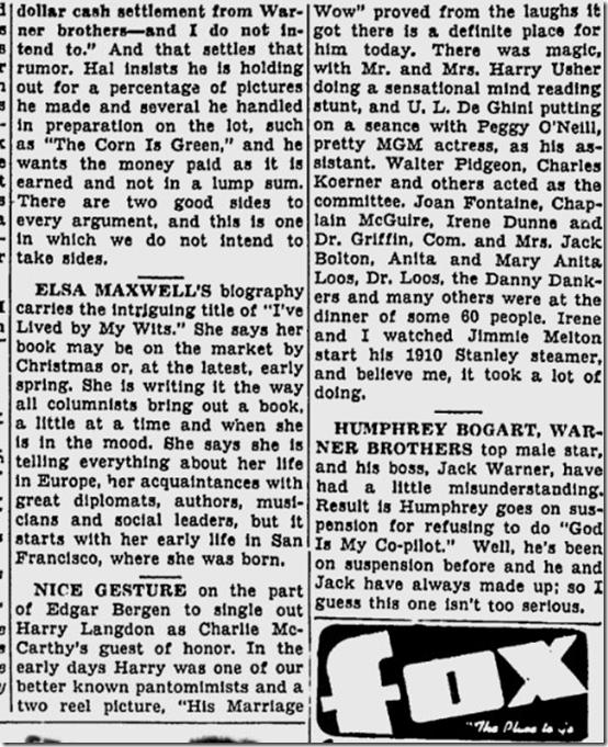 June 3, 1944, Louella Parsons