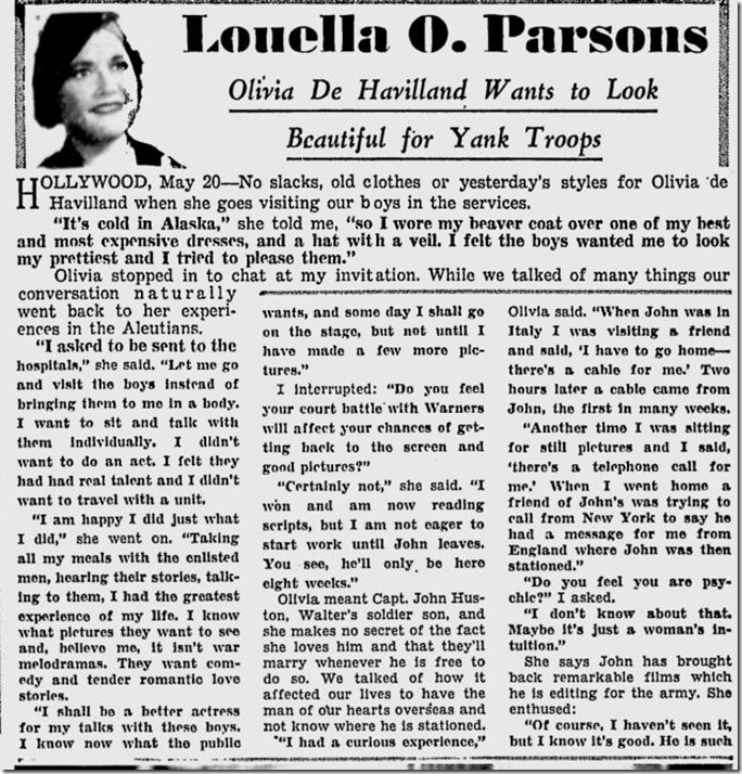 May 21, 1944, Louella Parsons