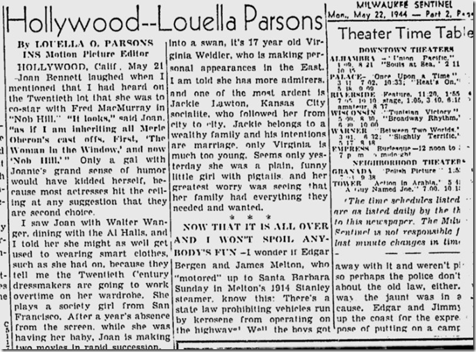 May 22, 1944, Louella Parsons