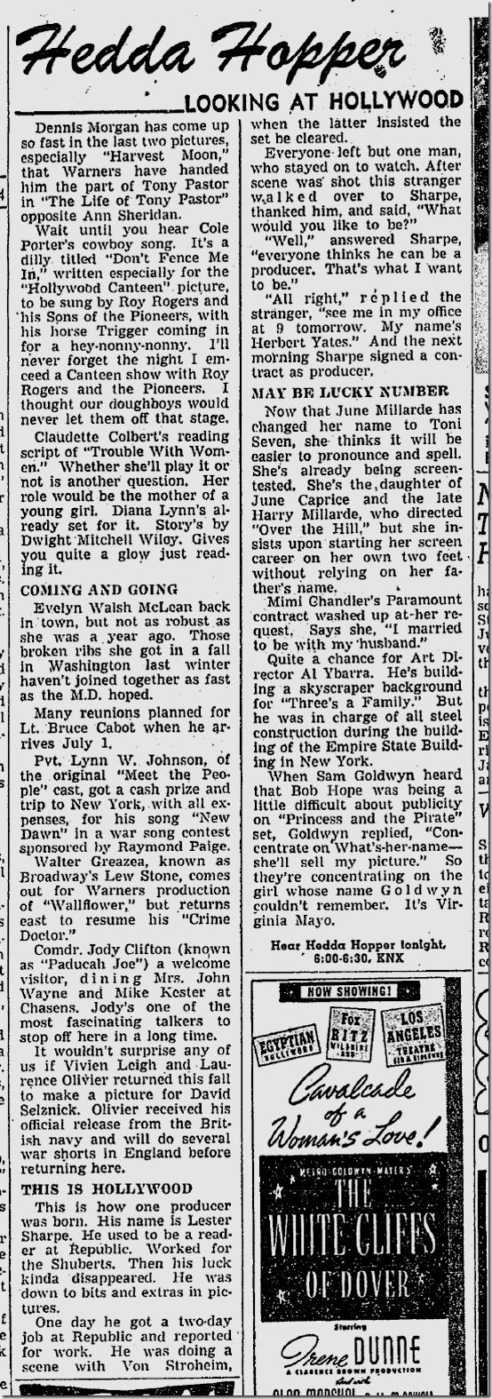 June 24, 1944, Hedda Hopper