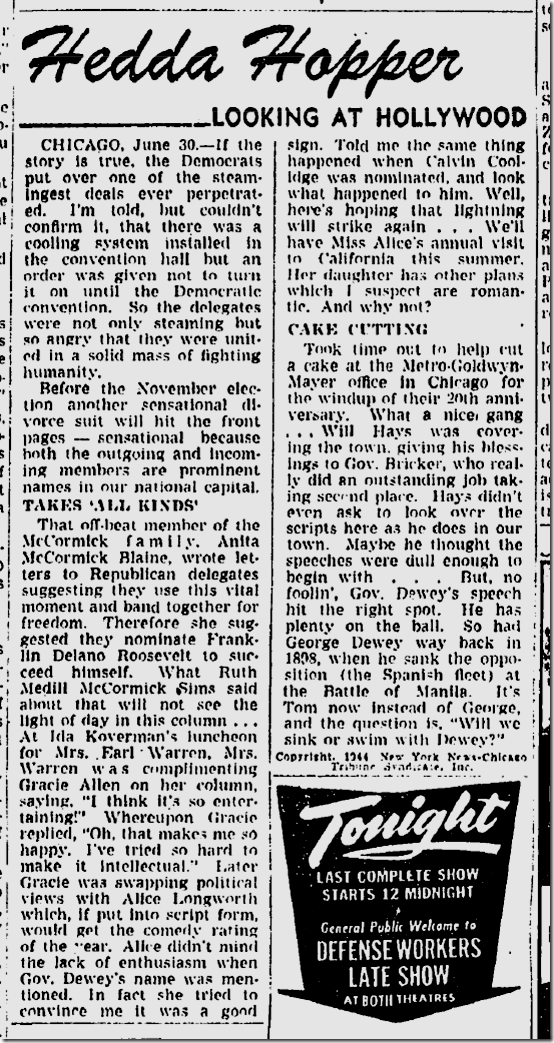 July 1, 1944, Hedda Hopper