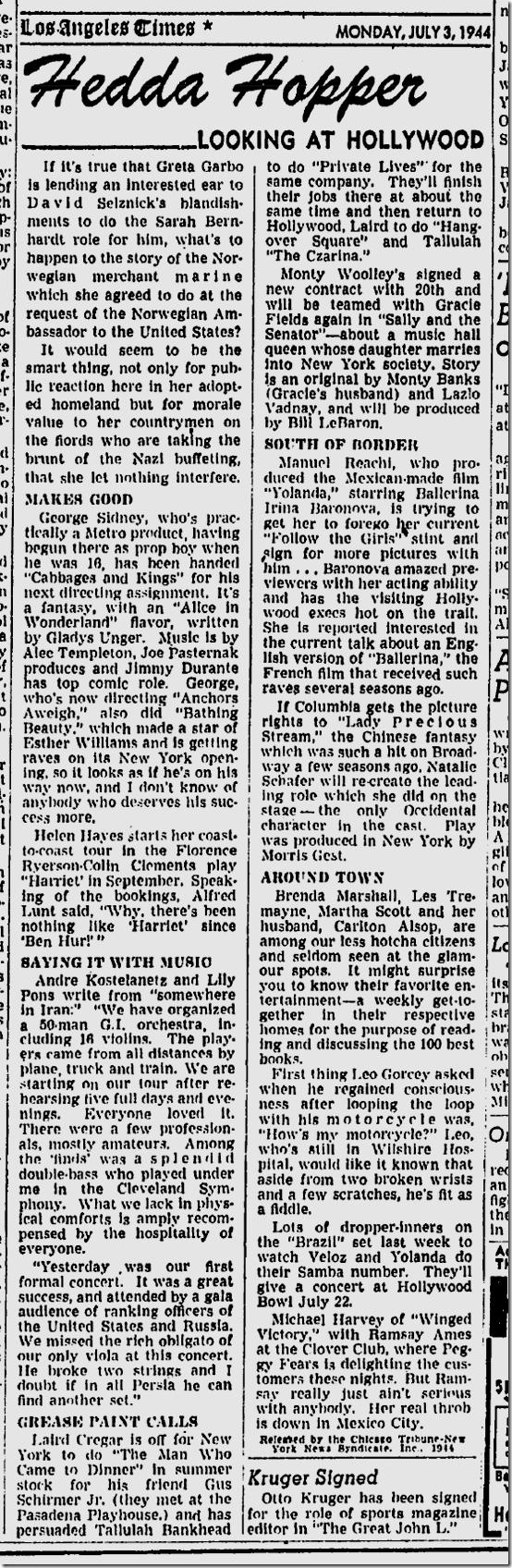 July 3, 1944, Hedda Hopper