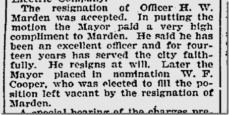Marden Resigns, March 27, 1901.
