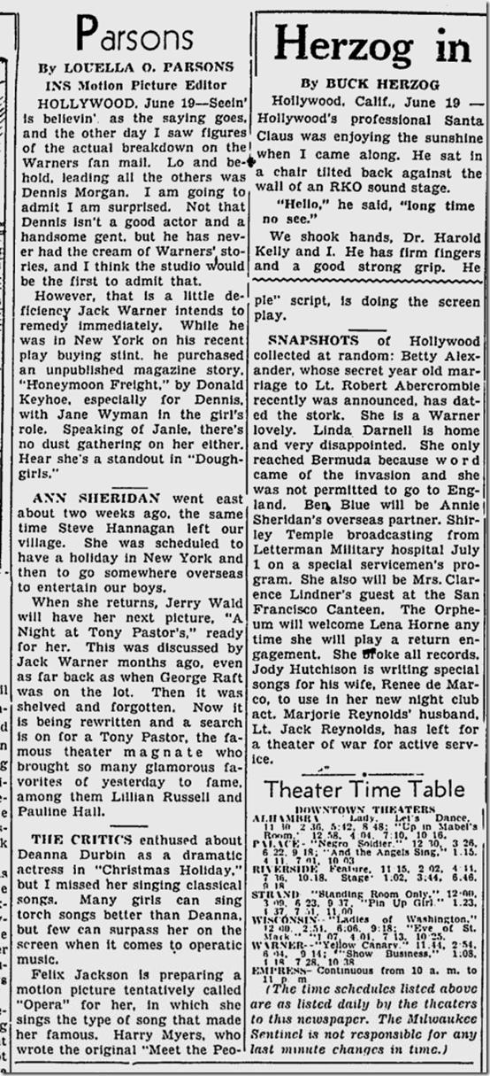 June20, 1944, Louella Parsons