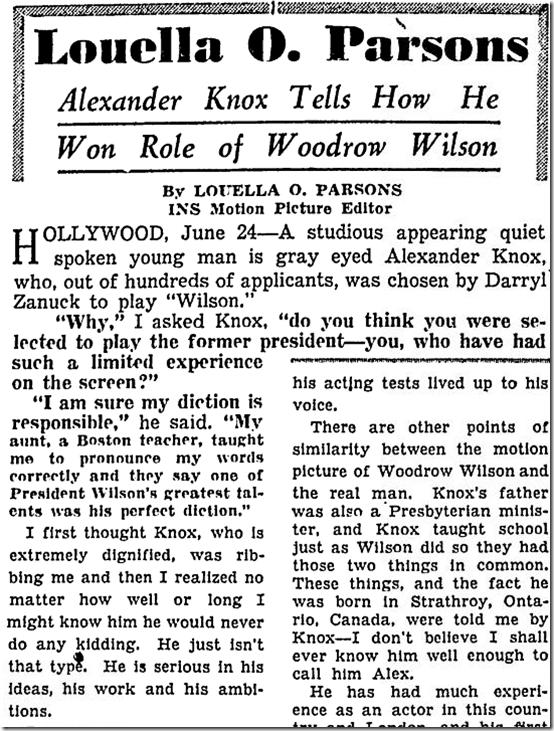 June 25, 1944, Louella Parsons