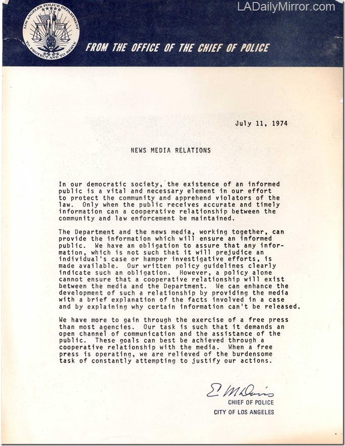 July 11, 1974, LAPD Memo
