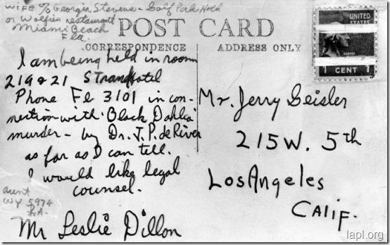 Leslie Dillon Postcard