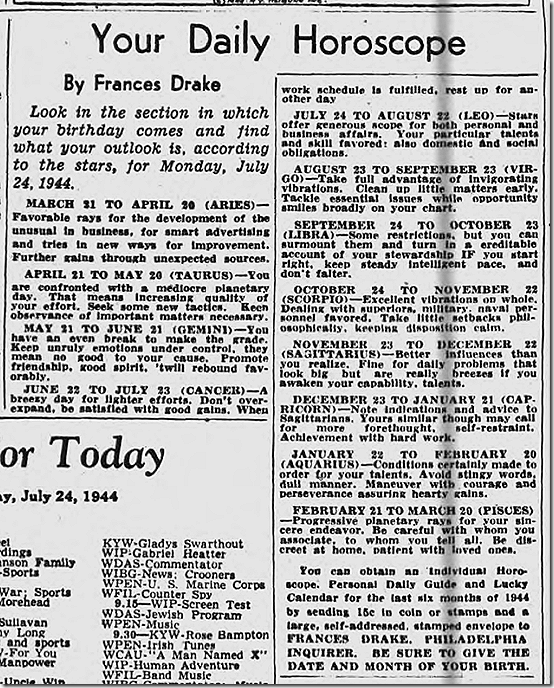 July 24, 1944, Horoscope