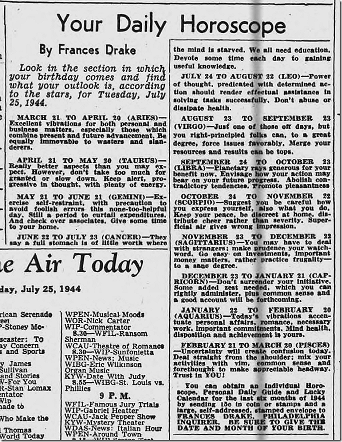 July 25, 1944, Horoscope