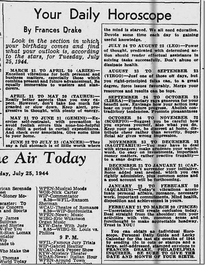 July 25, 1944, Horoscope