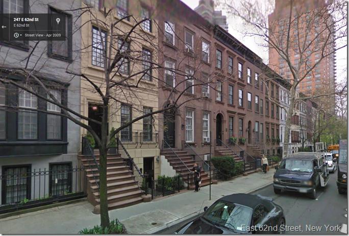 East 62nd Street, New York, Via Google Street View
