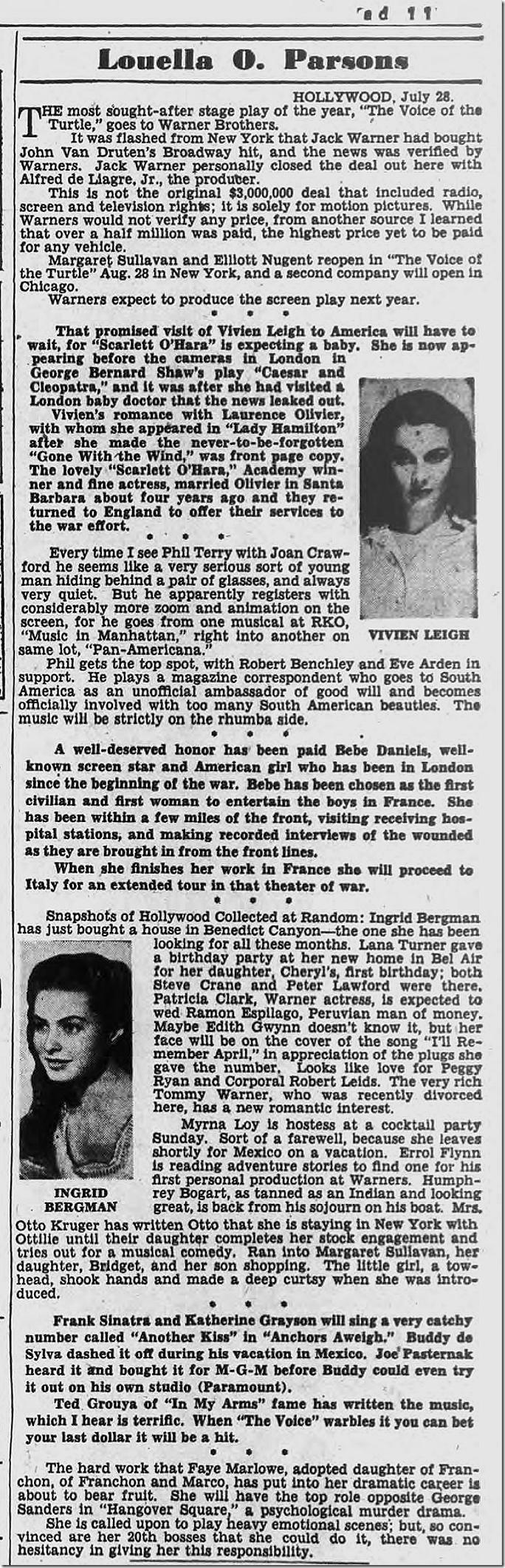 July 29, 1944, Louella Parsons