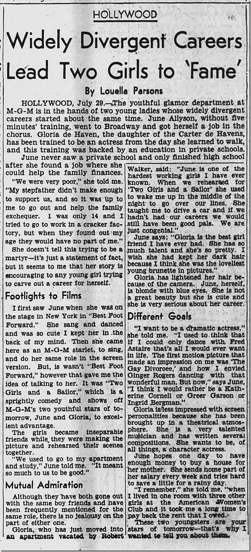 July 30, 1944, Louella Parsons