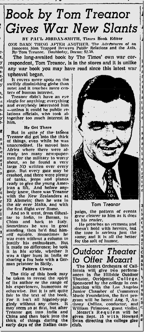 July 30, 1944, Tom Treanor