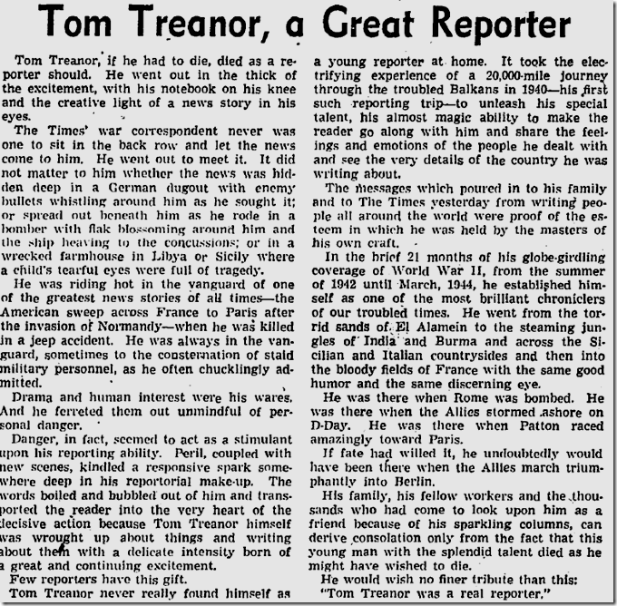 Aug. 22, 1944, Tom Treanor