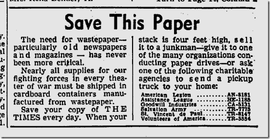 Aug. 22, 1944, Paper Drive