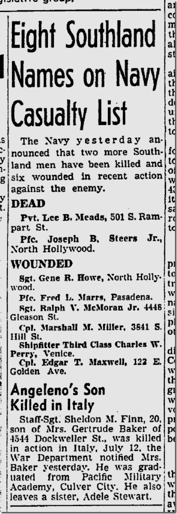 Aug. 22, 1944, Casualties