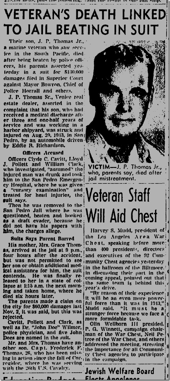 July 11, 1944, Veteran Beaten