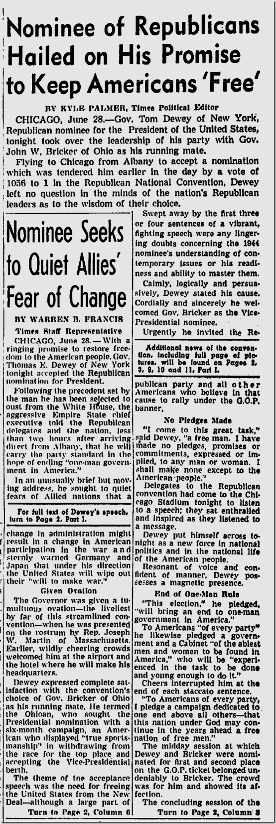 June 29, 1944, Dewey