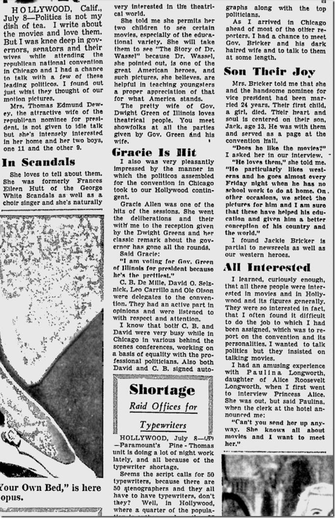 July 9, 1944, Louella Parsons