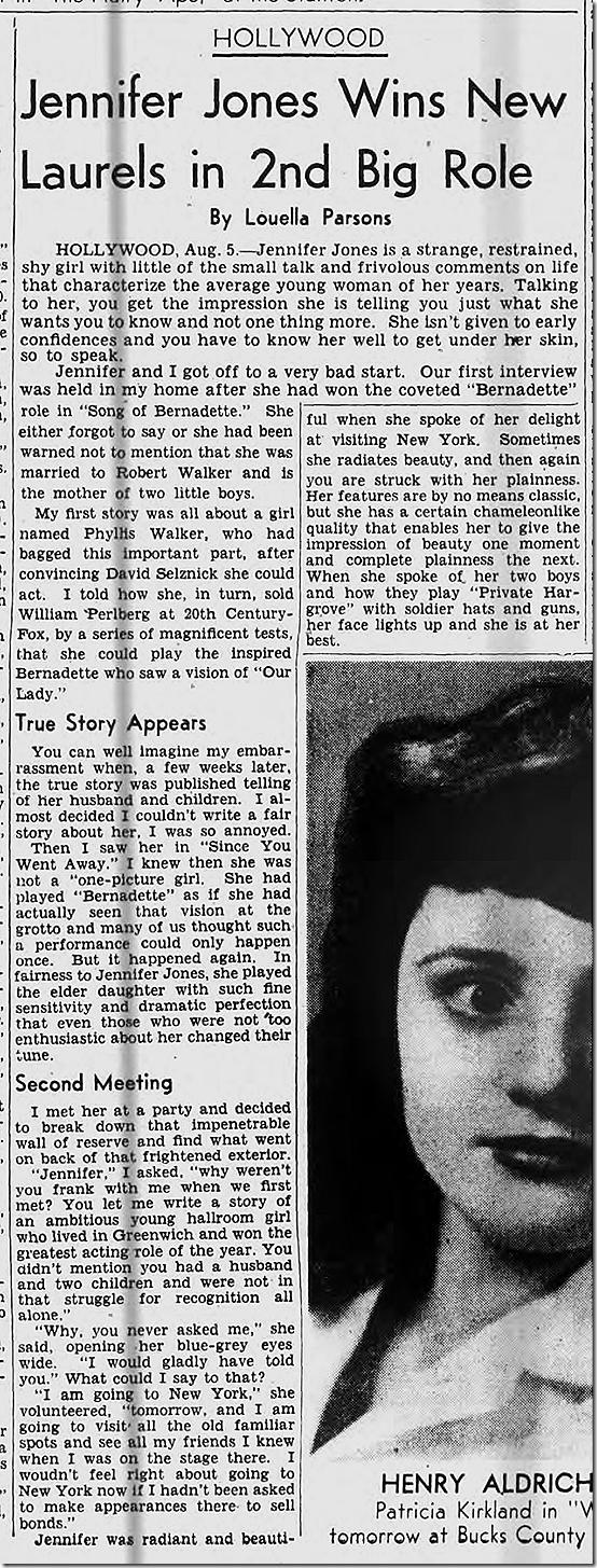 Aug. 5, 1944, Louella Parsons