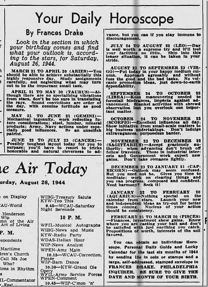Aug. 26, 1944, Horoscope