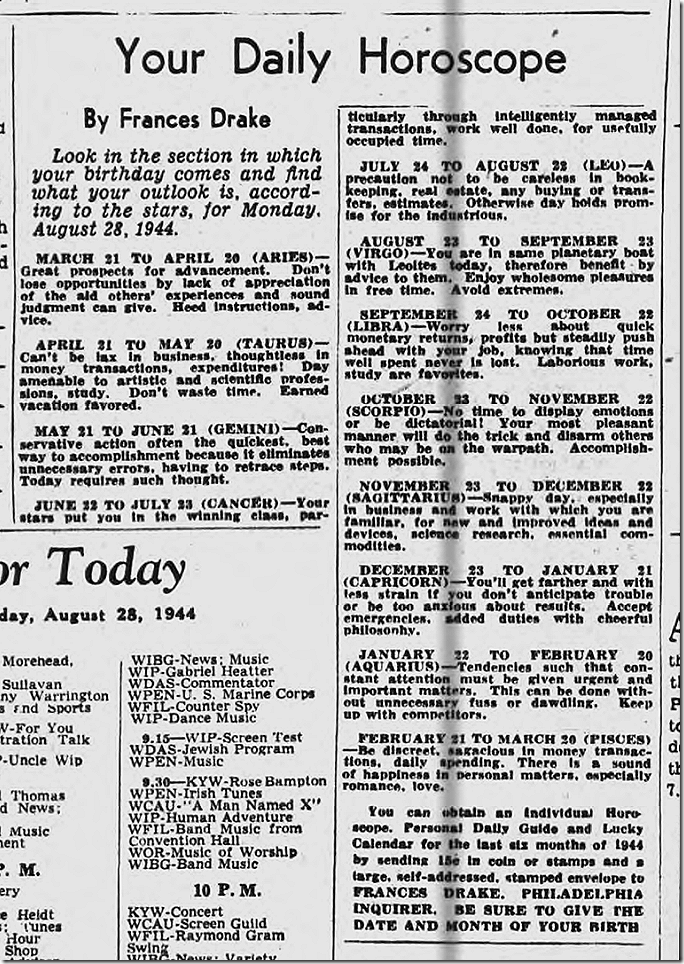 Aug. 28, 1944, Horoscope