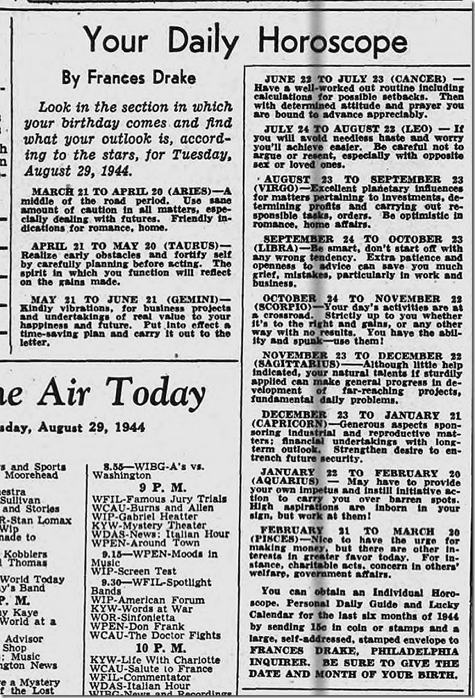 Aug. 29, 1944, Horoscope