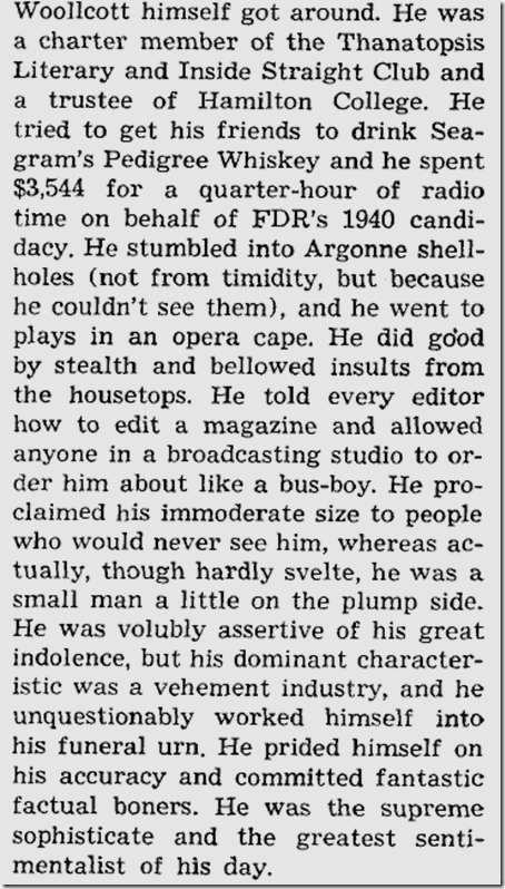 Alexander Woollcott, Saturday Review, June 2, 1945