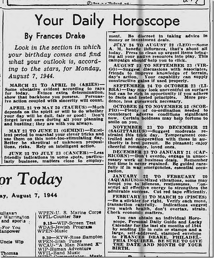 Aug. 7, 1944, Horoscope