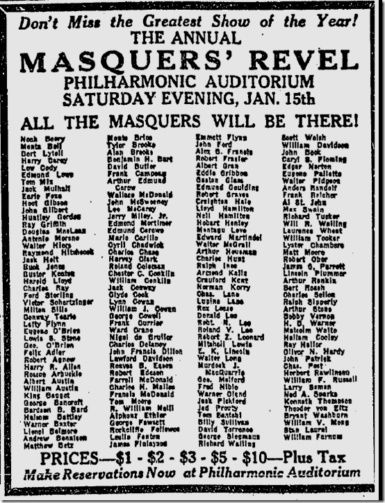 Jan. 9, 1927, Masquers' Revel