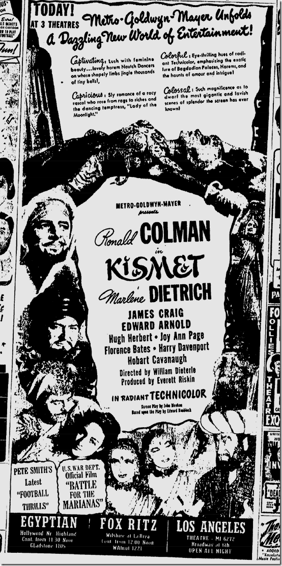 Sept. 19, 1944, Kismet